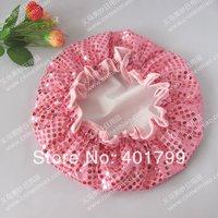 2 layers 100%waterproof high quality  Pink glitter Shower cap