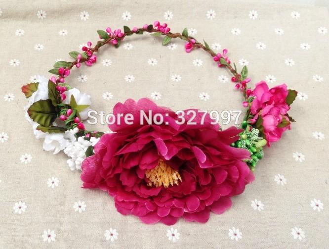 10x Fashion wedding girl flower crown Hawaii headpiece hot pink silk super peony head garland NW027 in free shipping(China (Mainland))