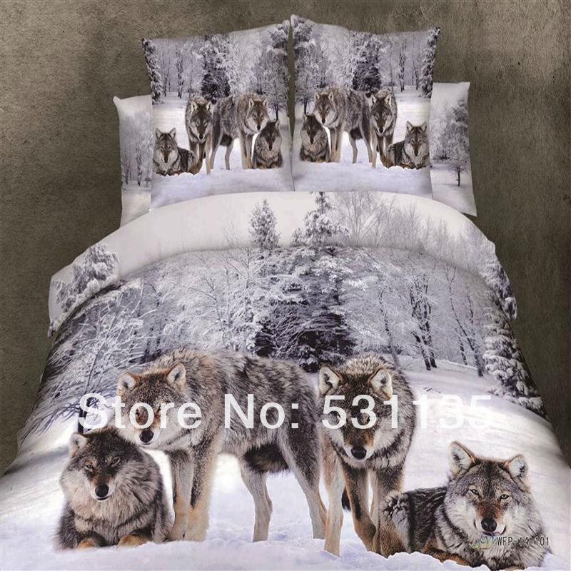 Imprimer la literie loup promotion achetez des imprimer la - Housse de couette loup ...
