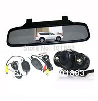 "Wireless Car Rear View Kit Frog Reversing Backup Camera 2 IR LED + 4.3"" LCD Screen Mirror Monitor Display"