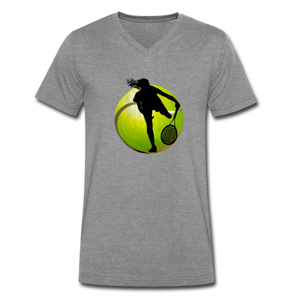 2014 Hot sale Tennis Girl Player Design and Cheap V Neck T Shirt For Men Wear(China (Mainland))