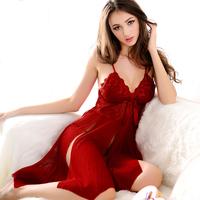 Core summer women's nightgown thin transparent deep V-neck spaghetti strap sexy nightgown sexy sleepwear lounge female