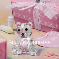 FREE SHIPPING+Baby Birthday Party Favors Choice Crystal Collection Teddy Bear Figurines -Pink+100pcs/lot(RWF-0048U)