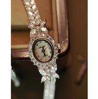 Best quality guarantee jaw drill diamond copper strap women dress watches 2014 luxury brand women bracelet watch
