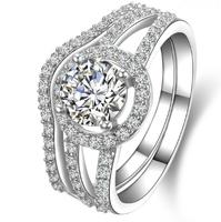 Sparkling Women's S925 Silver Filled Diamonique White Sapphire CZ Crystal Stone Wedding Couple Ring Set
