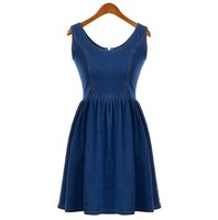 2014 New Summer Women Blue Denim Dress Back Zipper Sleeveless Dresses Ladies Plus Size Casual Jeans Dress