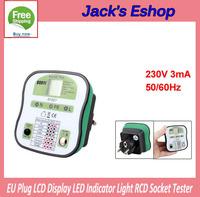 EU Plug LCD Display LED Indicator Light RCD Socket Tester Testing Tool  FREE SHIPPING