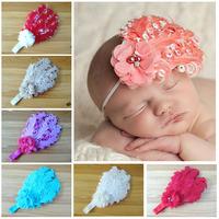 2014 wholesale newborn headbands Feather Headband chiffon flower pearl rhinestone girls hair accessories Baby Christmas12pcs/lot