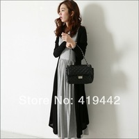2014 spring and summer new Maternity dress twin set long sleeve cardigan and long  tank dress for pregnant