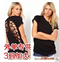 New Arrival Fashion European US Style Women Sexy Short Hollow Out T-Shirts Women Tops Free Shipping