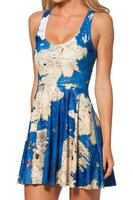 RESUN KNITTNIG black milk brand 2014 spring digital print world map pleated one-piece dress for women Drop shipping