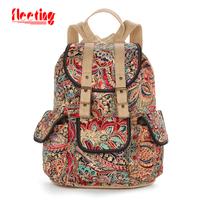 NEW 2014 Women Travel Bags Fashion Bag Printing Backpack Vintage Bag Designer Brand Canvas Flowers DESIGUAL Women Backpack