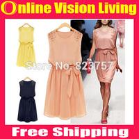 Free Ship 2014 New Summer Cute Women Sleeveless Dresses Chiffon Pleated Bow Dress Vestidos Pink Yellow Royal Blue M L XL A0218