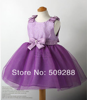 Free shipping children girl princess lace dress bow purple color girl's dresses Purple Dress