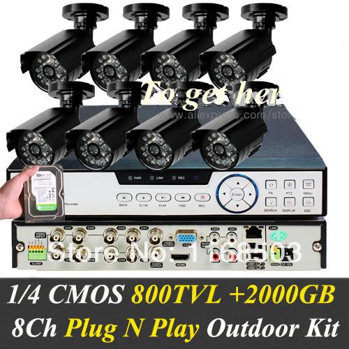 8ch network cctv dvr recorder HDMI H.264 D1 P2P CCTV Camera system +8PCS black CMOS 800TVL Outdoor Cameras+2000GB Hard driver(China (Mainland))