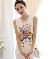 New 2014 free shipping women summer chiffon Tank Tops color printing blouse sleeveless base shirt lady casual large size S~XXL