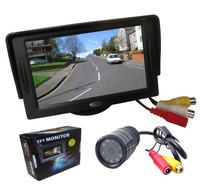 """New 4.3"""" Car LCD Monitor +9 IR Revering Car Rear view Backup Parking Camera Kit"""