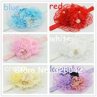 Min order 1 pcs chiffon lace flower Headband satin Ribbon Flower Headband For Infant Baby Girls Children hair accessories