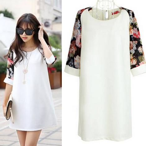 Fashion White Chiffon Patchwork Plus Size M-XL Floral Print Short Sleeve Brief Pregnant  Women's Maternity Dress/Dresses Clothes