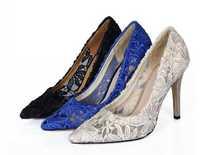 Fashion star ruslana korshunova fashion lace pumps cutout women's high-heeled shoes pointed toe shoes shallow mouth thin heels