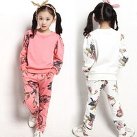Free shipping new 2014 grils clothing set kids clothes sets grils Floral suit