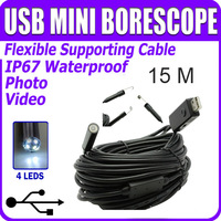 10MM Waterproof 15M 60Ft USB camera endoscope Video Snake Pipe Inspection Colour Waterproof LED endoscope inspection camera