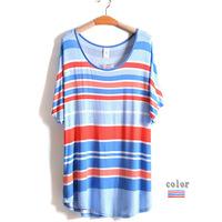 4XL-6XL Plus Size Casual Women Stripe T-Shirt  Lady Tee Top Big Large Size Oversize 5XL XXXXL XXXXXL 2014 New Fashion Summer