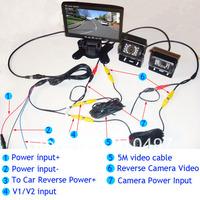 "7"" LCD Car Monitor + 2 x IR night vision reversing backup parking camera rear view kit + free 10m cable for long truck FREE dhl"