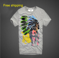 Free Shipping 2014 Fashion Summer Short Sleeve Top & Tees Amerindian Printed Cotton t shirt Men O-neck T-shirt Male ZX0149