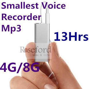 8gb professionellen hd mini-digital-audio diktiergerät mit mp3-player Rauschunterdrückung kleinste Größe Gewicht 7.5g nur