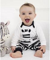 2014 New arrival  little children boy suit children set Zebra design 100% cotton size 80CM 90CM 100CM 110CM 120CM Free Shipping