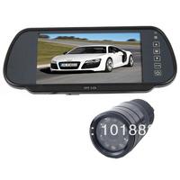 "Car Rear View 9IR LED sensor Night Vision Reversing Backup Parking Camera+ 7"" LCD Monitor Mirror Kit UK"