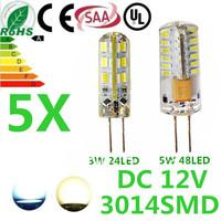 5pcs/lot free shipping G4 24LED 48LED  3014SMD chip led Silicon lamp 3W 5W DC 12V 360 Degree non-polar