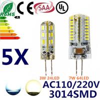 5pcs AC110V/220V High Power 3014 SMD 3W 7W  G4 LED Lamp Replace 50W halogen lamp 360 Beam Angle LED Bulb lamp