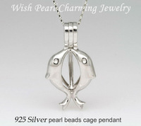 925 Silver Double Dolphin Shape Pearl Bead Locket Cage, Sterling Silver Pendant Mounting for Necklace Jewelry