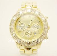 New style Mnichael watch, fashion luxury watch, 1pc/lot Free Shipping high quality unisex diamond watch--Gold