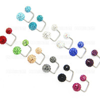 Fashion twins ball crystal  ferido gem ball ear studs surgical stainless steel,  12 pairs/lot.