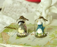 Free ship! 20set/lot 38*25mm Glass vial glass dome glass Bubble with antique bronze base with top cap  DIY vial pendant 2014NEW
