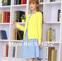 Free shipping The new incoming yellow cardigan blue plaid  twinset one-piece dress female(cardigan&dress/lot)