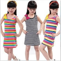 Female child one-piece dress 2014 children's clothing child summer sleeveless stripe bow princess dress kids for girl