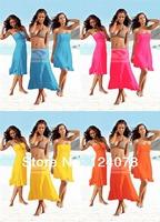 Fashion Women's Beach Dress Solid Color Bikini Cover ups Outside Holiday One-piece Dress 11 Colors