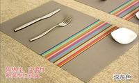 2014 Top Fasion Time-limited Freeshipping Orange 4pcs Colorful Line Plastic Placemats Skid Resistance Insulation Table Mats Gray