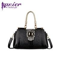 Fashion crocodile pattern genuine leather handbag women bag first layer of cowhide cross-body handbag