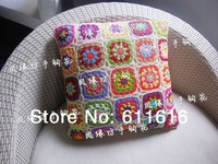 Freeshipping Crochet flower pillow cover car cushion cover seat cushion cover