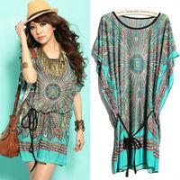 2014 Summer Vintage Bohemian Casual Dresses Women's Plus Size Ice Silk Dress Free Shiping