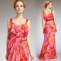 Women summer dress 2014  bohemia fashion party sexy one-piece  long  print dress brand floral girls dress