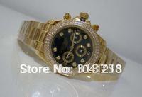 Mens Daytona 18k Gold Black Dial Diamond BEZEL 40mm Mechanical Luxury WATCH Wristwatch Men's Watches