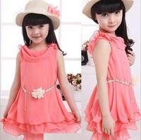 Age 6 to age14 child summer one-piece lace girl dress 2014 child tank dress female child sweet chiffon dress
