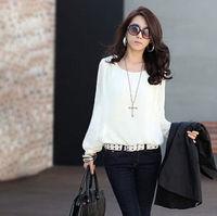 2014 New Women's Fashion Sexy blouses Tops Bubble Long Sleeve Chiffon Loose Casual Career shirt women Blouse Plus Size S-XXL
