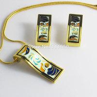 newest design wholesale artistic national style vintage leaf enamel jewelry set